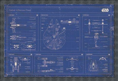 Framed Framed Rebel Alliance Fleet Blueprint - Star Wars
