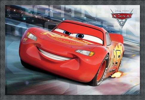 Framed Framed Lighting McQueen - Race Time - Cars 3