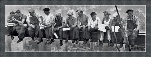 Framed Framed Men On A Girder Eating Lunch - New York City Collection