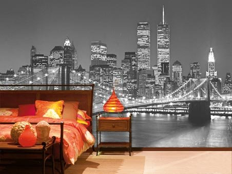 Henri silberman 39 s brooklyn bridge 8 sheet cityscape wall for Brooklyn bridge black and white wall mural