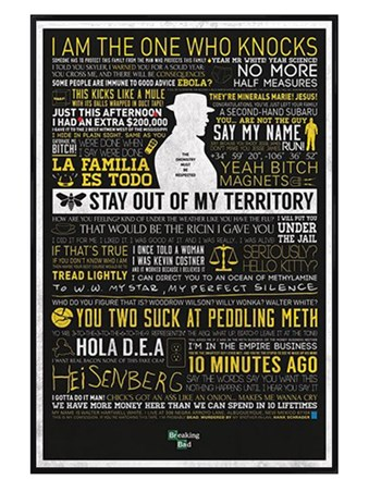 Gloss Black Framed The Many Sayings of Walter White - Breaking Bad