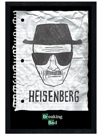 Black Wooden Framed Heisenberg Wanted Poster - Breaking Bad