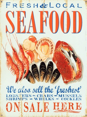Fresh & Local Seafood, Retro Food Advertisement