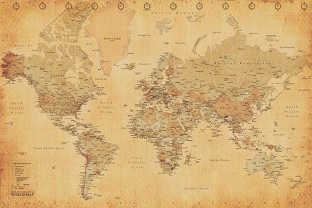 Vintage Style World Map - Discover The World