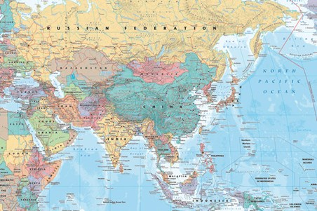 Framed Asia & The Middle East - Political Map