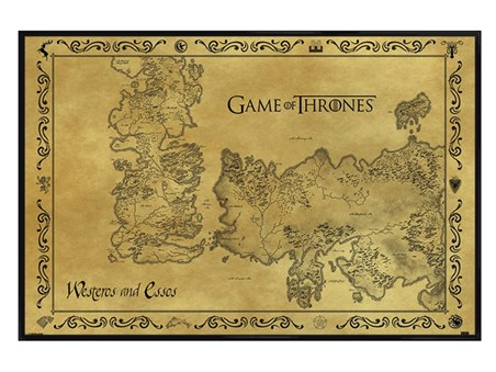 Gloss Black Framed Antique Map - Game of Thrones