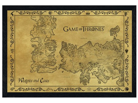 Black Wooden Framed Game Of Thrones Map - Antique Map
