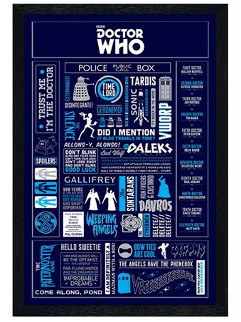 Black Wooden Framed Time Lord Infographic - Doctor Who