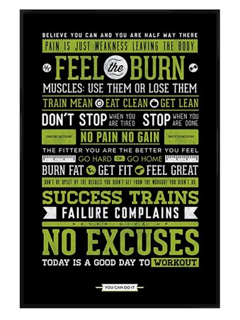 Gloss Black Framed Gym Motivation - Feel the Burn