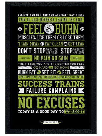 Black Wooden Framed Gym Motivation Framed Poster
