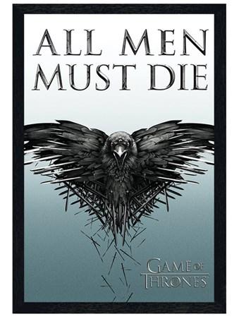Black Wooden Framed All Men Must Die - Game Of Thrones
