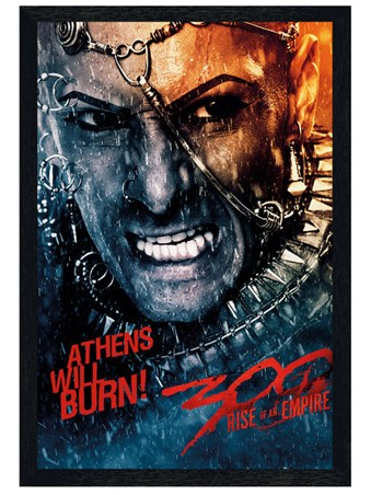Black Wooden Framed Athens Will Burn! - 300:Rise Of An Empire