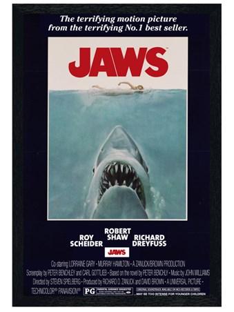 Black Wooden Framed Steven Spielberg's Jaws Framed Poster
