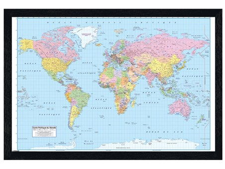 Framed Black Wooden Framed French Map of the World - Educational Map