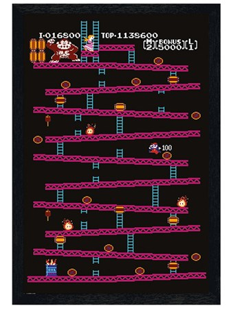 Black Wooden Framed Donkey Kong - Retro Gaming