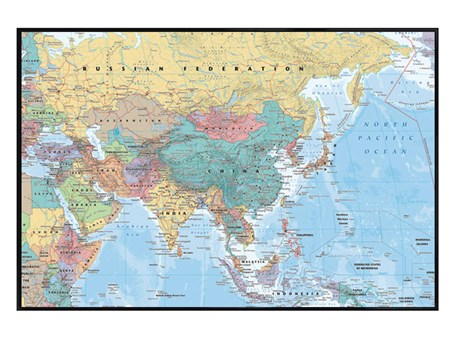 Gloss Black Framed Asia & The Middle East Map - Educational Map