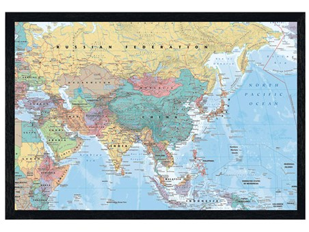 Black Wooden Framed Asia & The Middle East Map - Educational Map