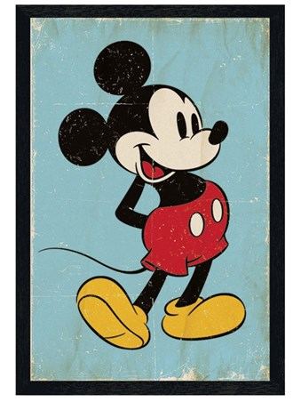 Black Wooden Framed Retro Mickey Mouse - Walt Disney