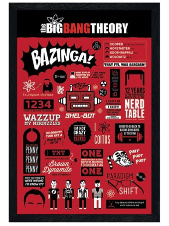 Black Wooden Framed The Big Bang Theory Infographics - Fun Quotes From The Big Bang Theory
