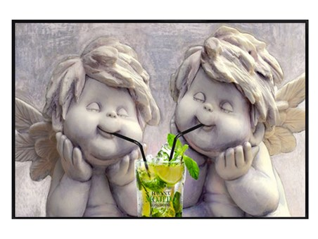 Gloss Black Framed Angelic Mojito Drinkers - Angels and a Mojito