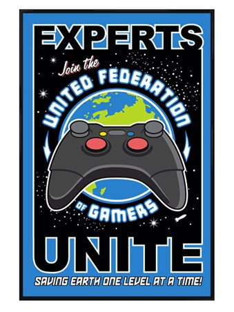 Gloss Black Framed United Federation of Gamers - Retro Gaming