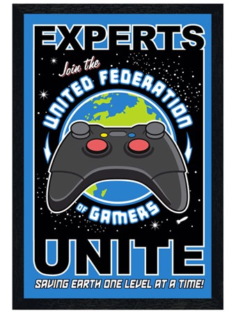 Black Wooden Framed Gamers Unite - United Federation of Gamers