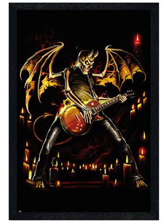 Black Wooden Framed Guitar Hero Framed Poster