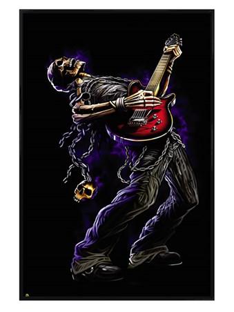 Framed Gloss Black Framed Bang Your Skull - Gothic Guitar Hero