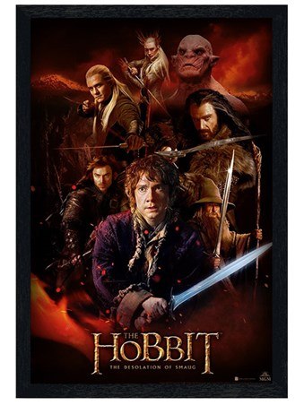 Black Wooden Framed Fire Montage - The Hobbit