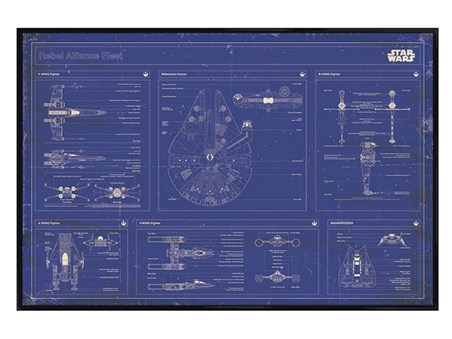 Framed Gloss Black Framed Rebel Alliance Fleet Blueprint - Star Wars