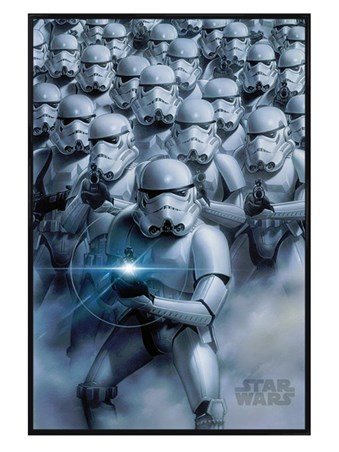 Gloss Black Framed Stormtroopers Attack - Star Wars