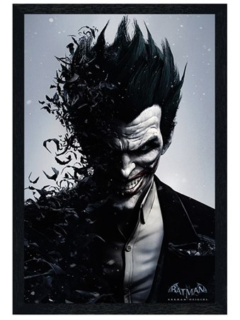Black Wooden Framed Joker - Batman Arkham Origins