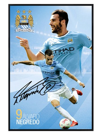 Gloss Black Framed Alvaro Negredo, Manchester City Football Club