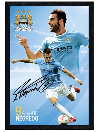 Black Wooden Framed Alvaro Negredo, Manchester City Football Club