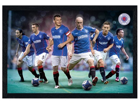 Black Wooden Framed Top Team Players - Rangers Football Club