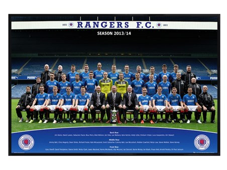Gloss Black Framed Team Photo 2013/14 - Rangers Football Club