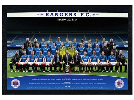 Black Wooden Framed Team Photo 2013/14 - Rangers Football Club