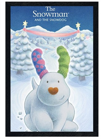 Black Wooden Framed Snowdog - The Snowman & The Snowdog