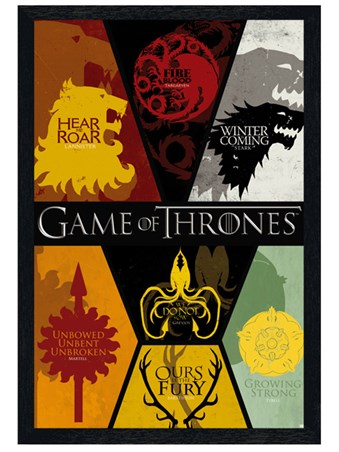 Black Wooden Framed Sigils - Game of Thrones