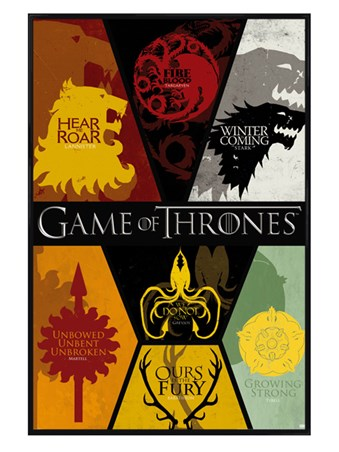 Gloss Black Framed Sigils - Game of Thrones