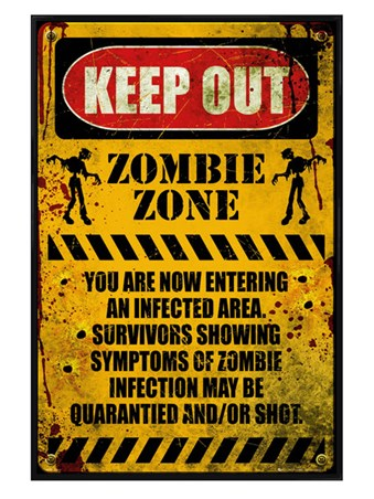 Gloss Black Framed Zombie Zone - Keep Out