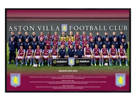 Gloss Black Framed Aston Villa Team Photo 2013/14 - Aston Villa