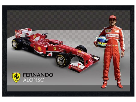 Black Wooden Framed Fernando Alonso - Ferrari