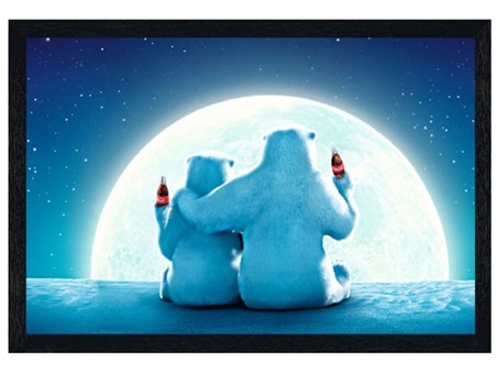 Black Wooden Framed Polar Bear Moon - Coca Cola