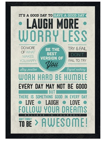 Black Wooden Framed Be Awesome! Framed Poster