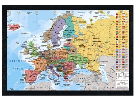 Black Wooden Framed European Map With Flags - Countries in Colour Poster