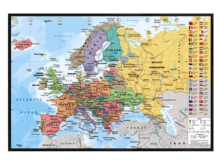 Gloss Black Framed European Map With Flags - Educational Map