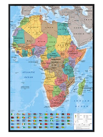 Gloss Black Framed Map Of Africa - Educational Map