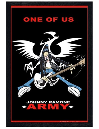 Black Wooden Framed One Of Us - Johnny Ramone Army