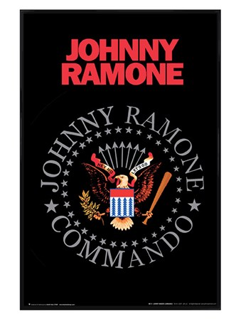 Gloss Black Framed Johnny Ramone Commando - Hey Ho Let's Go